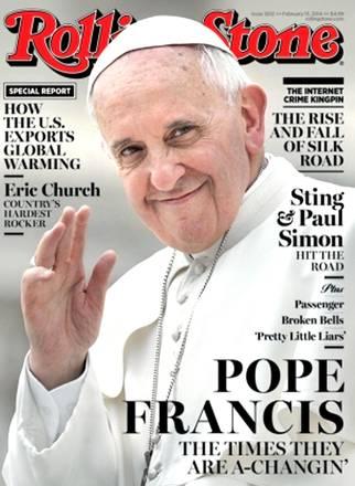 La copertina della rivista musicale Rolling Stone dedicata a Papa Francesco , 28 gennaio 2014 ANSA / WEB +++ EDITORIAL USE ONLY -NO SALES NO ARCHIVE +++