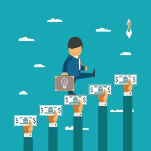 Crowdfunding vector concept with hands holding money like ladder of success
