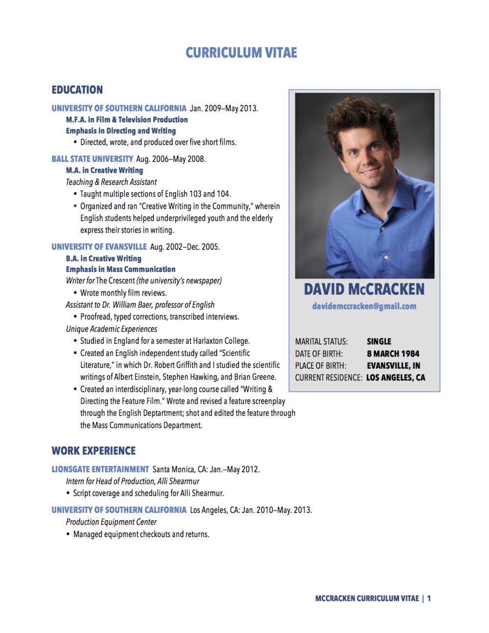 Curriculum Vitae Download Con Foto