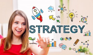 Strategy concept with young woman in her home