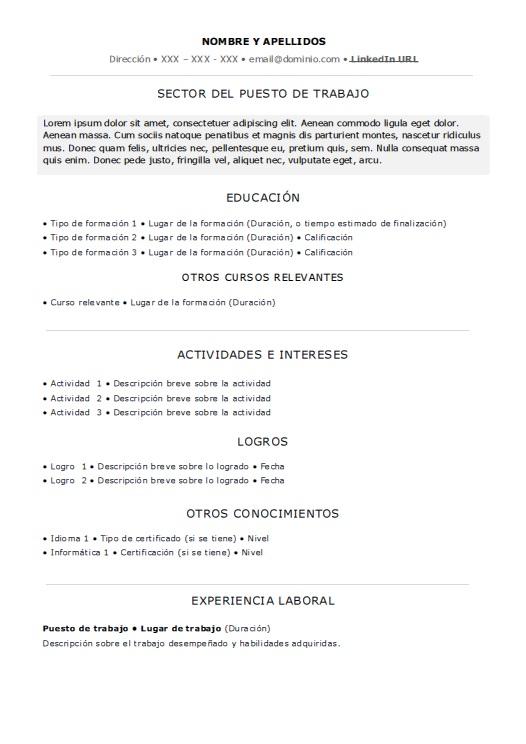 Plantilla De Curriculum Vitae Basico Sin Experiencia Laboral
