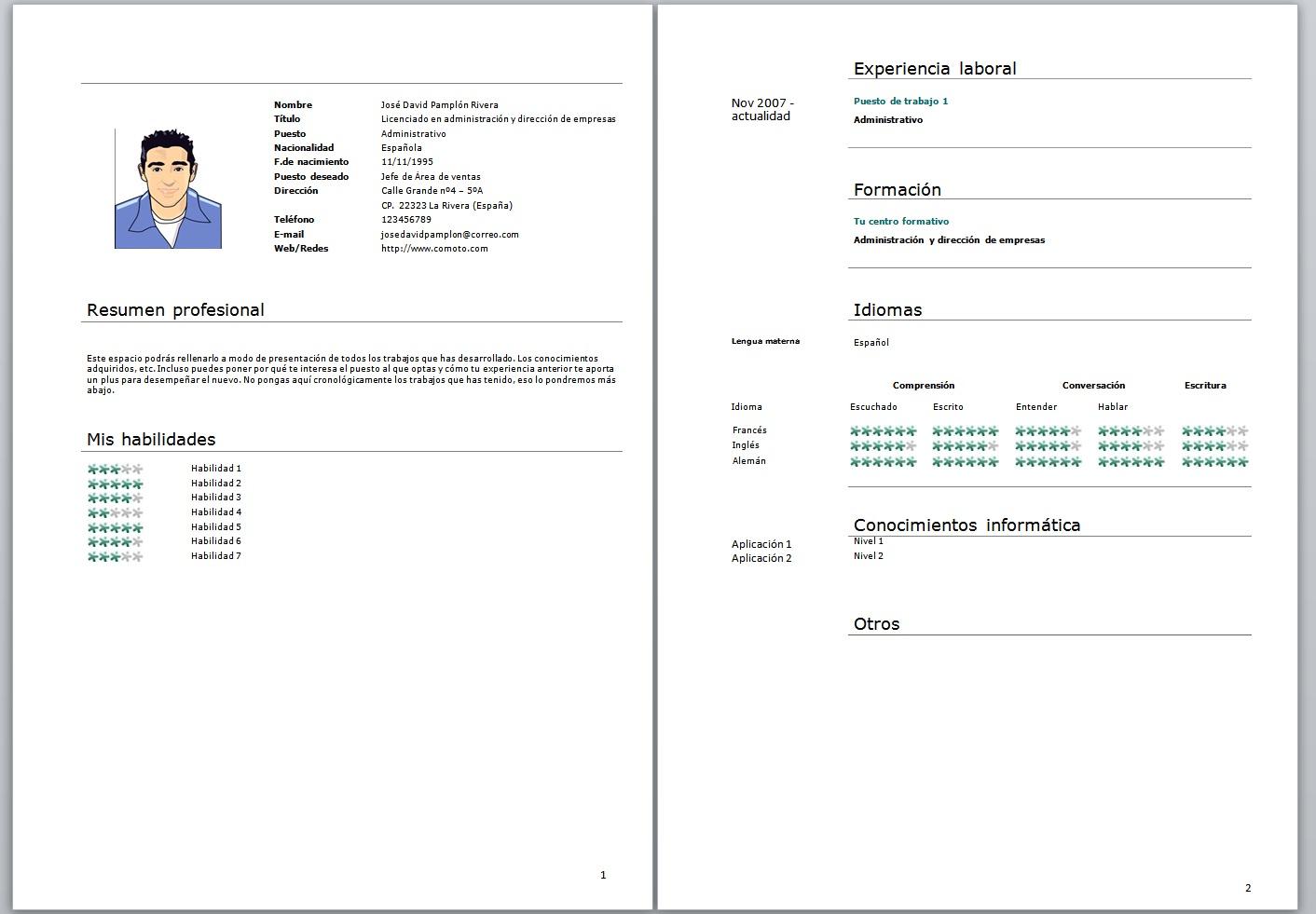 curriculum vitae formato para llenar pdf