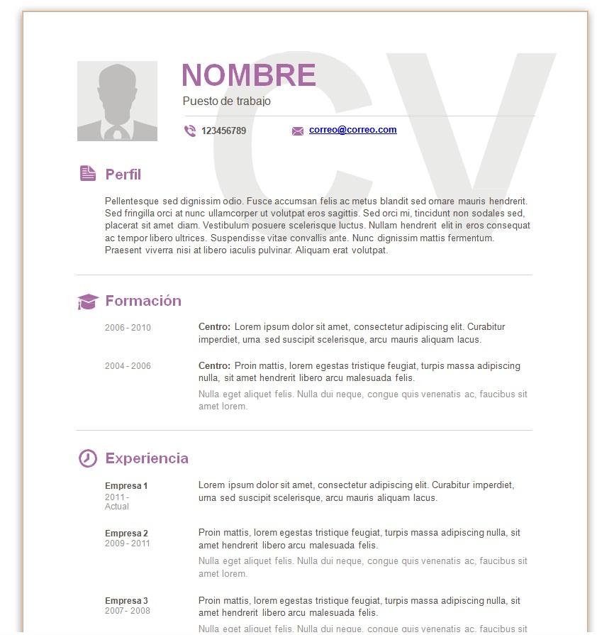 modelos de currículum vitae en word para completar trabajemos